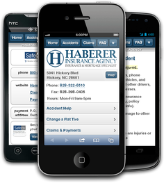 Mobile insurance website for Haberer Insurance Agency at m.habererinsuranceagency.com